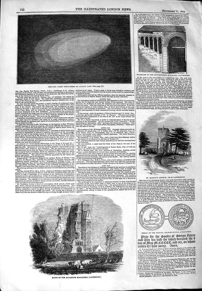 Antique Print 1844 Comet, just discovered!