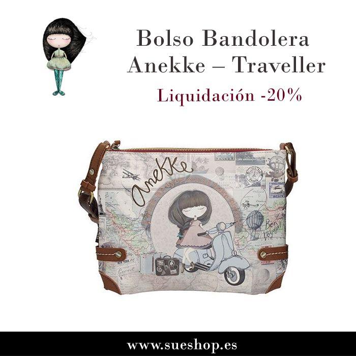 """Consigue en sueshop.es el Bolso Bandolera Anekke """"Traveller"""", con compartimento principal con cremallera, varios bolsillos interiores para llevarlo todo bien organizado y un bolsillo en la parte trasera, también con cierre de cremallera.¡¡Ahora con un 20% de descuento!! @sueshop_es #anekke #bolso #bandolera #complementos #liquidacion #oferta #descuento #sueshop"""