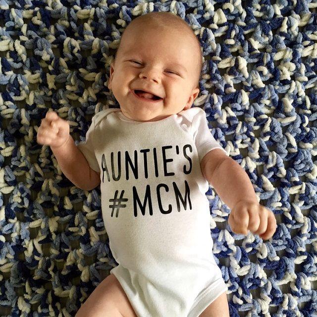 Baby Boy Onesie, Baby Boy Outfit, Newborn Onesie, Boys Clothes, Mom's #MCM Man Crush Monday, AUNTIE's MCM Instagram, Hashtag Bodysuit, by littleandgorgeous on Etsy https://www.etsy.com/listing/261715385/baby-boy-onesie-baby-boy-outfit-newborn
