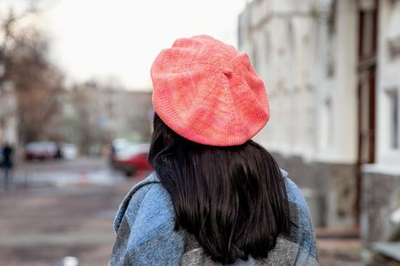 Knitted beret hats for women, Orange slouchy beret women, Oversize winter hat merino wool, Loose cap, Best Xmas gift for her, Head warmers – Products