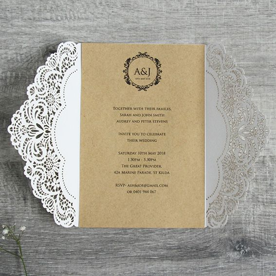 The Rustic Romance invite features white laser cut lace opening to a brown background, tied together with a piece of string. Call for more info on 03 99394796.