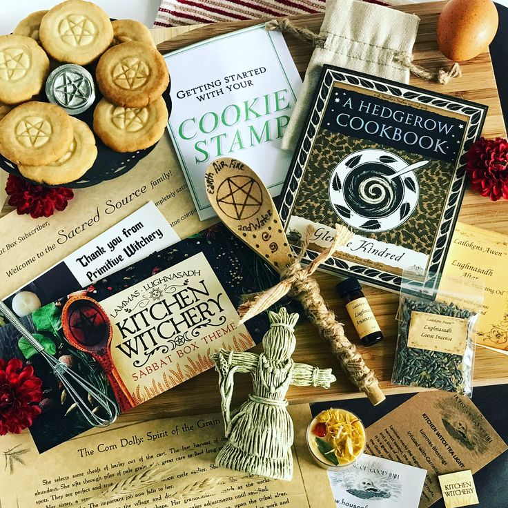 Our Kitchen Witchery Sabbat Box for Lammas. Each box came with a Custom Made Corn Doll Statue, hand burned kitchen witch spoon, Lammas Incense and oil set, a Lammas kitchen witch spell candle, pentacle cookie stamp and a witchy cookbook. https://www.sabbatbox.com #sabbatbox #kitchenwitch #kitchenwitchery #lammas #lughnasadh #sabbats #wheeloftheyear #wicca #witchcraft