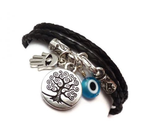 leather wrap bracelet with protective charms