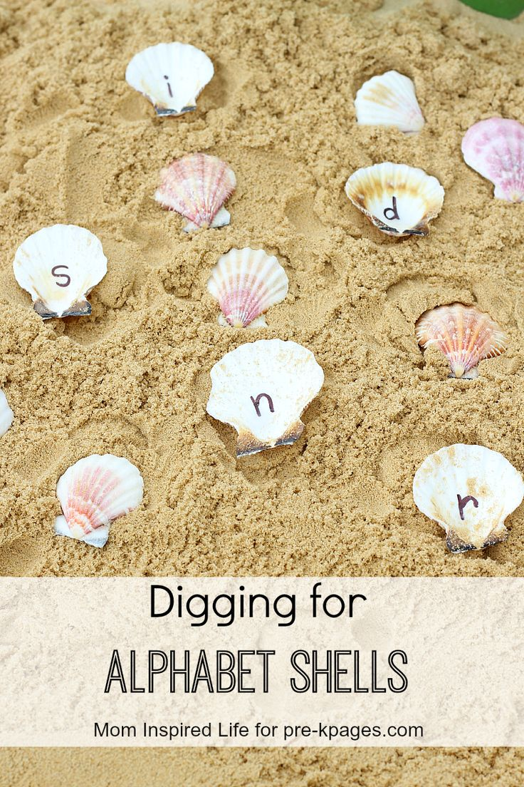 Ocean Theme Alphabet Shells Sensory Bin for learning and fun in preschool and kindergarten!