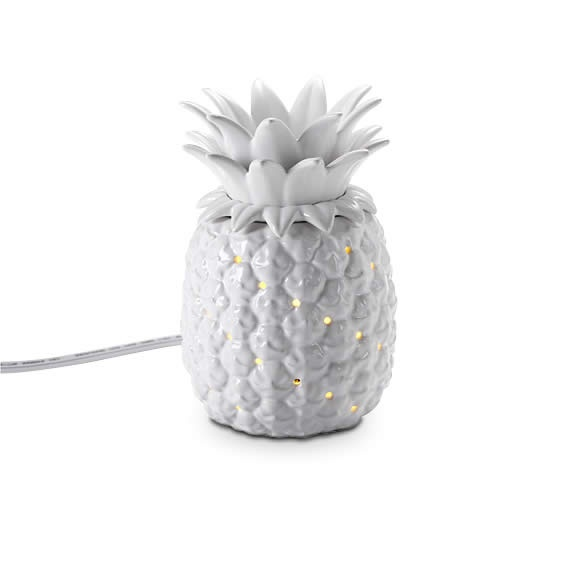 """Welcome ScentGlow® Warmer  Item #:  P91048   A traditional sign of hospitality, our 3-piece ceramic pineapple warmer has a contemporary edge with its glossy white glaze. Electric warming plate diffuses the fragrance of Scent Plus® Melts or scented oil, sold separately, when placed in the ceramic dish. A hidden LED light provides for soft illumination. For a stronger fragrance throw, remove the lid. White cord. 6 1/4""""h, 4 1/4""""dia.  Reg Price:  $35.00 each  Sale Price: $12.00 each"""