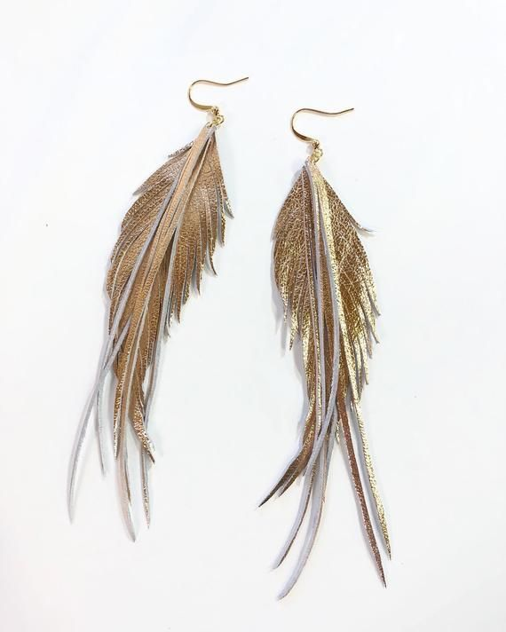 Leather feather earrings Champagne gold leather feather earrings large feather earrings genuine LEATHER feather earrings