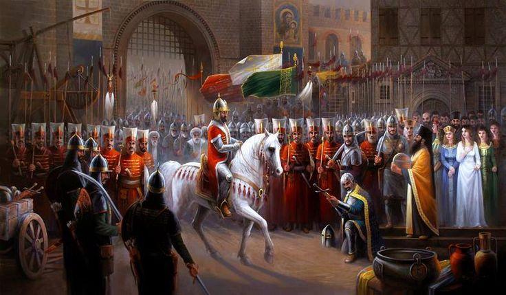 Emperor David of Trebizond surrenders Trabzon to Fatih Sultan Mehmed Han on August 15th, 1461. ديفيد امبراطور طرابزون يستسلم للسلطان محمد الفاتح في طرابزون في ١٥ آب ١٤٦١