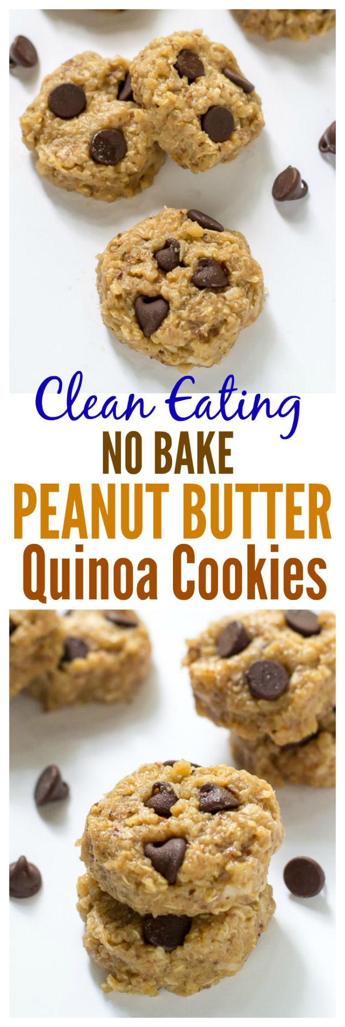 Clean Eating No Bake Peanut Butter Quinoa Cookies. Soft and chewy cookies with NO BUTTER and NO FLOUR. Gluten free.