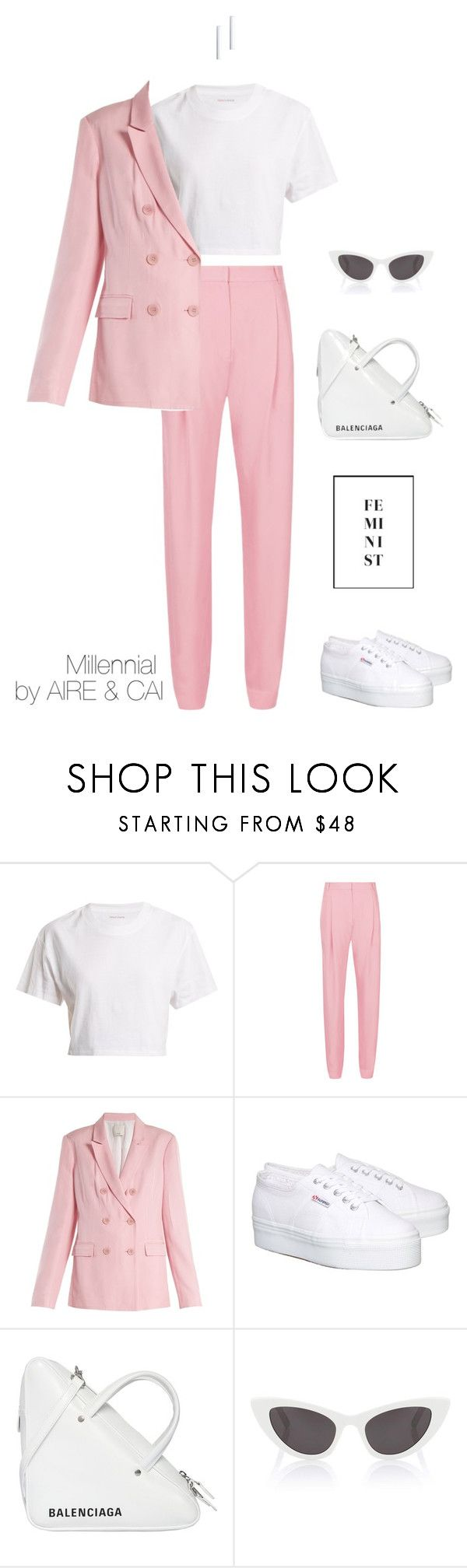 """""""Millennial"""" by aireandcaimail on Polyvore featuring Hanes, TIBI, Superga, Balenciaga, Yves Saint Laurent and Birks"""