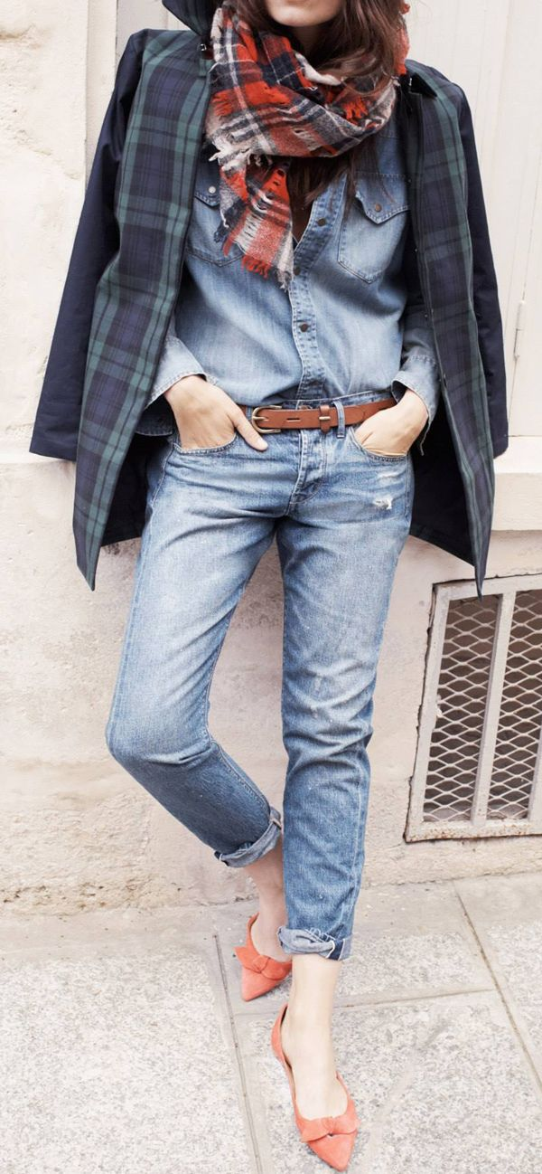 Fall style Tartan blazer, tartan scarf, jeans and chambray shirt...who could want anything more?