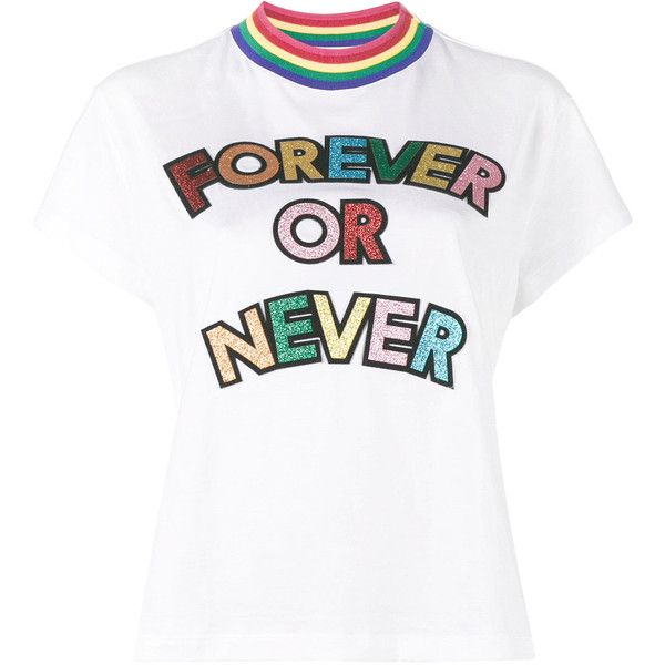 Mira Mikati Forever or Never Glitter Embellished T-Shirt ($259) ❤ liked on Polyvore featuring tops, t-shirts, white, white cotton t shirts, cotton t shirts, cotton tees, white embellished top and white cotton tee