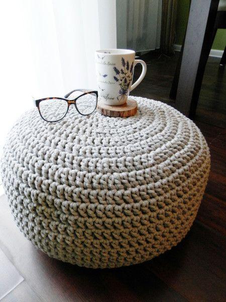 Bean Bags & Floor Cushions – Szara pleciona pufa – a unique product by jolanta-dudek on DaWanda