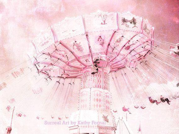 "Ferris Wheel Photos - Dreamy Baby Pink Carnival Art, Baby Child's Room Decor, Pink Ferris Wheel Home Decor 6"" x 8"""