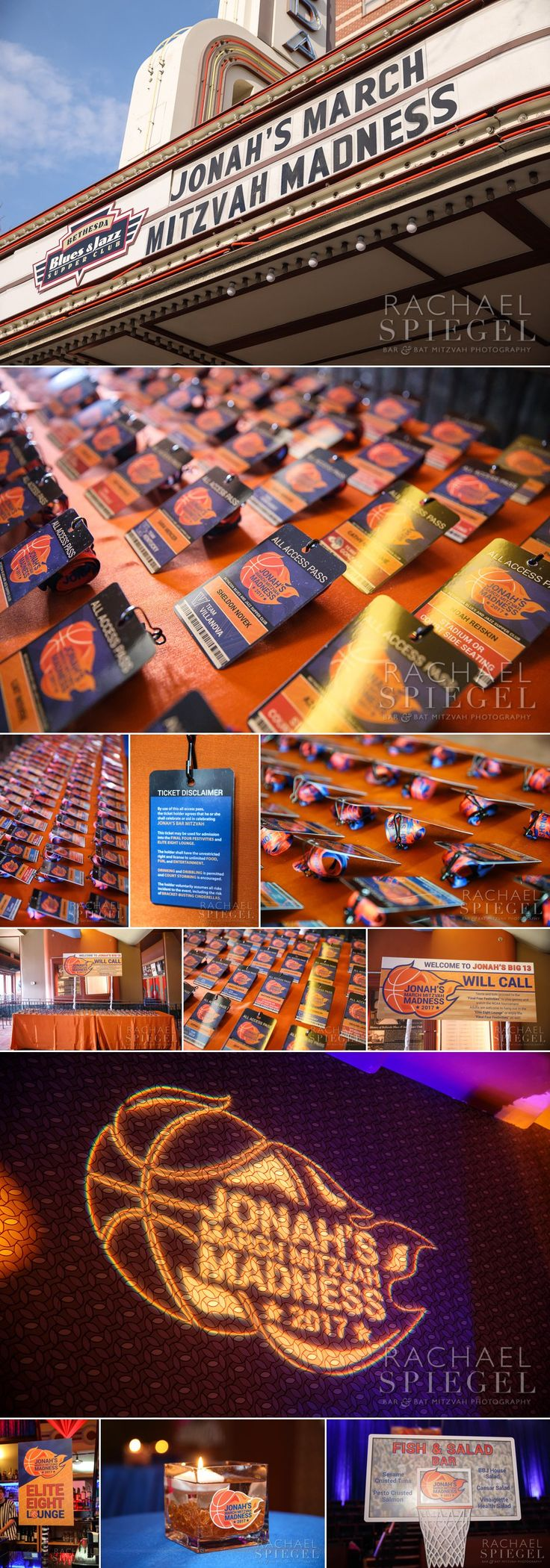 March Madness Basketball Theme | Placecards, lanyards and logo design, and signs by Innovative Party Planners | www.innovativepartyplanners.com   | Photos by Rachael Spiegel Photography   Blog – Maryland Bar and Bat Mitzvah Photographer | Decor & Details – Jonah's Bar Mitzvah – Bethesda, Md.