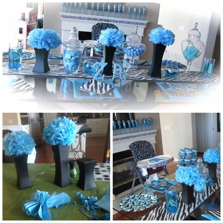 Zebra print and Turquoise decor for my son's first B-Day party. The colors looked gorgeous together.