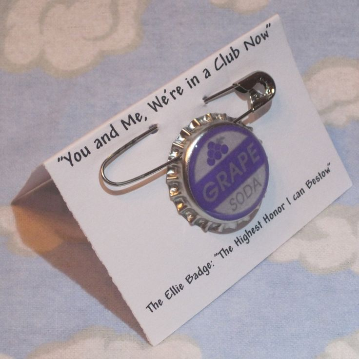 "Up ""Ellie Badge"" Grape Soda Pin Disney Pixar Inspired Bottle cap. $2.50, via Etsy."