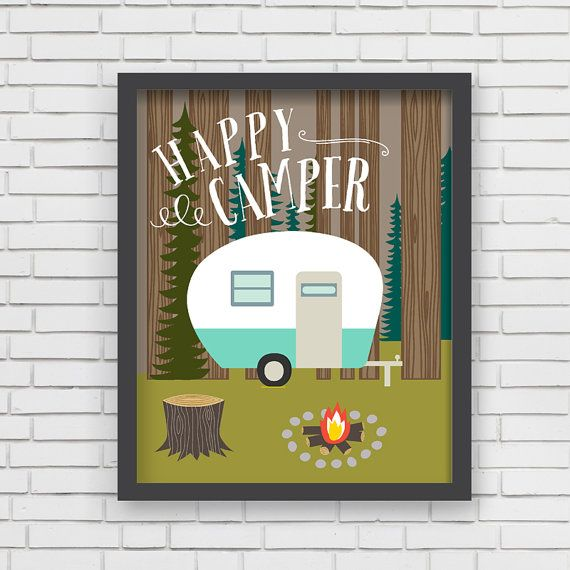 Home Decor Camping Wall Art  Happy Camper Art by LucyDarlingPrints, $24.99