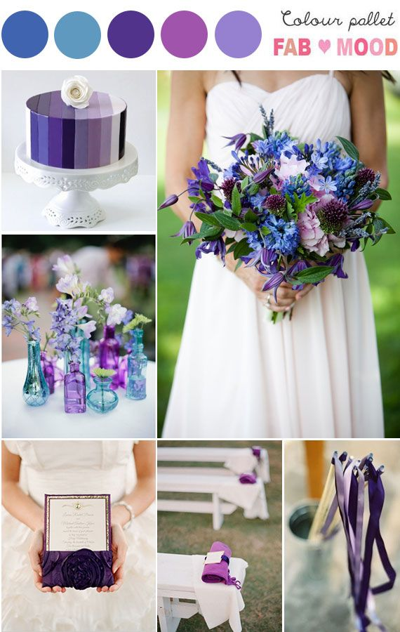 Shades of purple & blue Wedding Board. Purple stripes wedding cake & beautiful bouquet.