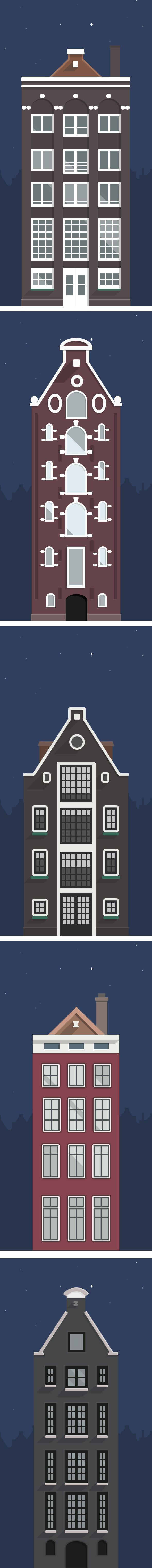 Amsterdam's Buildings Illustration by Sergey Shmidt, via Behance