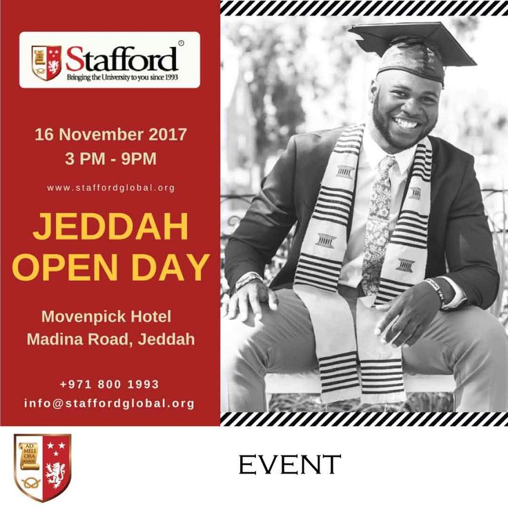 | Jeddah Open Day - Personal Consultation on UK University Programmes |  Are you confused as to which programme is best for you?  You can visit us on November 16th, 2017 at the Movenpick Hotel and meet one of the university representatives! Don't forget to bring a copy of your CV, degree certificate, and mark sheets for immediate assessment of your eligibility.   Click here to REGISTER>>http://blog.staffordglobal.org/events/uk-university-distance-learning-programmes-jeddah  #highered #online…