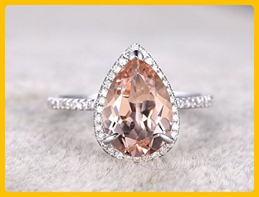 8x12mm Natural Pear Shaped Cut Peach Pink Morganite Gemstone Halo Diamond Engagement Ring Bridal Propose Proposal Promise Wedding Rings Anniversary Ring Band Size 4-10 Vintage Antique Retro - Wedding favors (*Amazon Partner-Link)