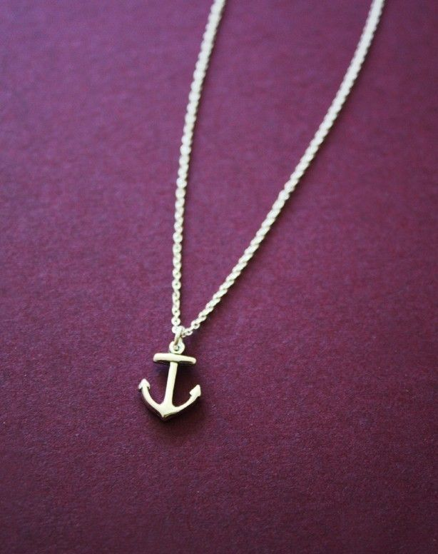 Anchor necklace, sailor, nautical, Navy, silver charm necklace, unisex necklace. $26.00, via Etsy.