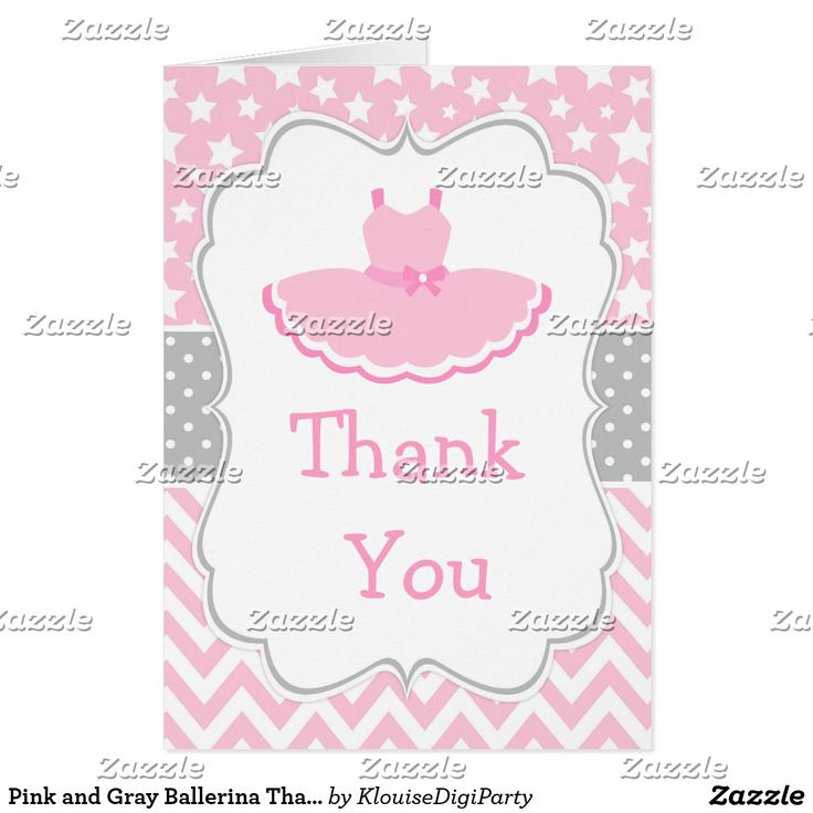 Pink and Gray Ballerina Thank You Card