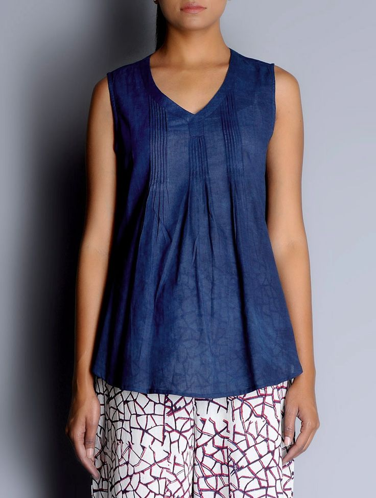 Buy Indigo Pintuck Detailed Sleeveless Cotton Top Apparel Tops & Dresses Dreamer's Dream Contemporary Hand Block Printed Online at Jaypore.com
