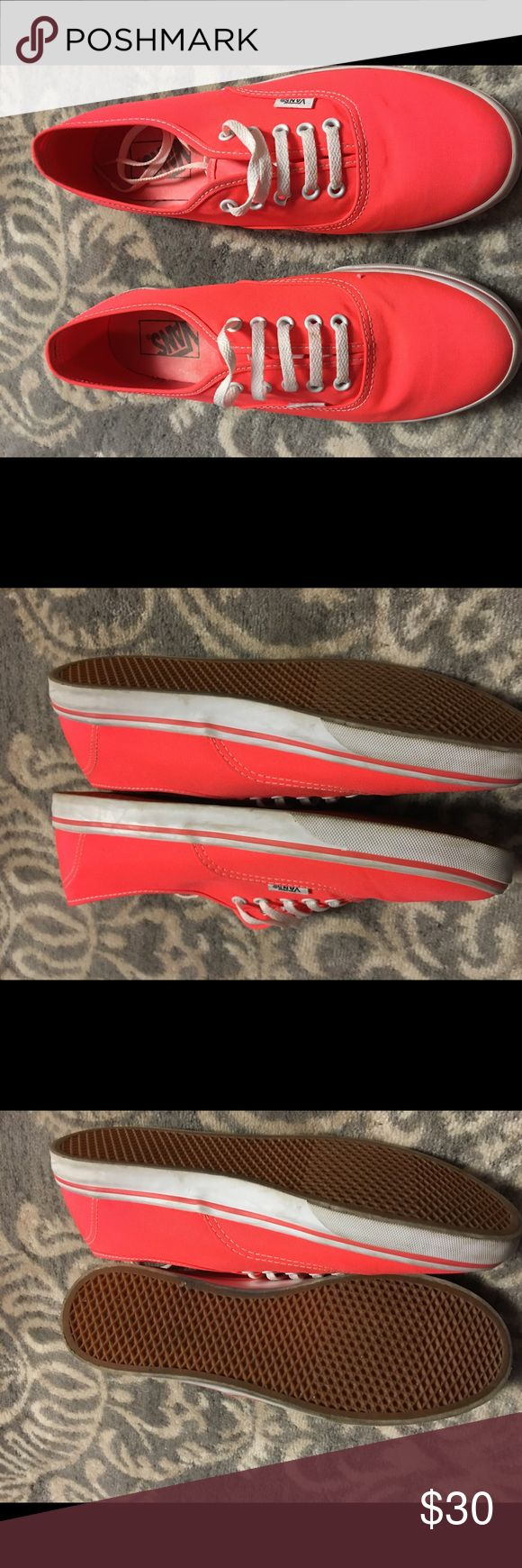 Vans coral size 8 1/2 Coral vans wore 1 time .. size 8 1/2 Vans Shoes Sneakers
