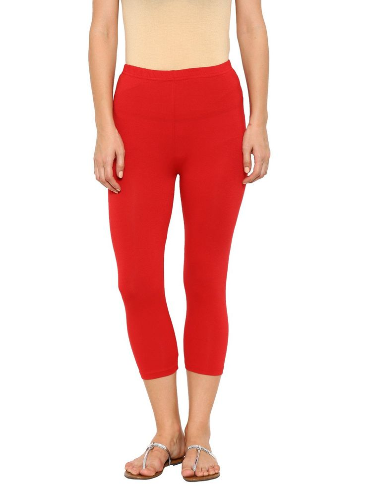 De Moza Ladies Leggings 3/4th Leggings Solid Viscose Lycra Red  #onlinefashion #onlineshopping #freeshipping #ss17 #pants #legging #longshrug #fashion #shimmerlegging #deals