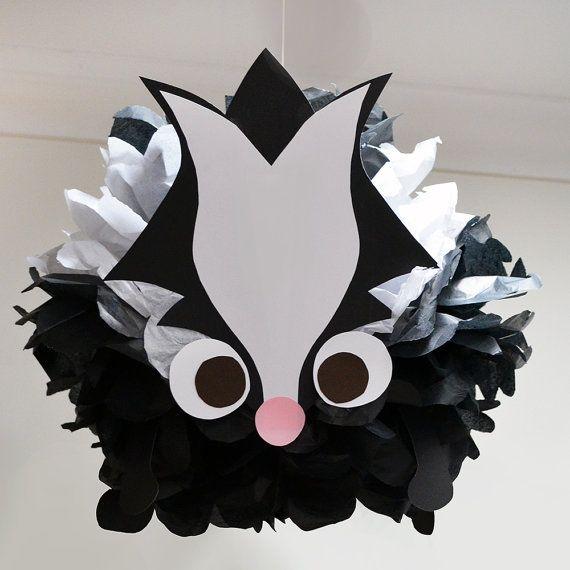 Skunk Tissue Paper Animal Pom Pom Kit by PomLeMoose on Etsy