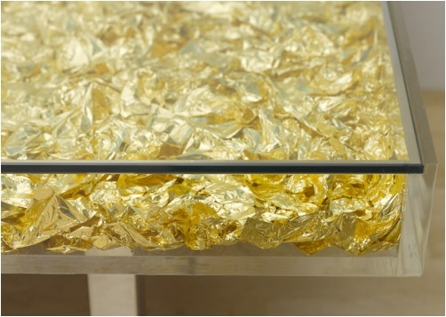Yves Klein Table D 39 Or E Designed 1961 3 000 Sheets Of Gold Leaf Glass Plexiglass Wood And