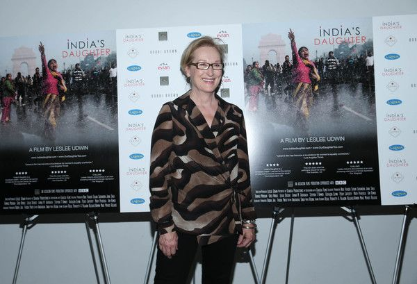 "Meryl Streep attends the New York Premiere of ""India's Daughter"" at NYIT Auditorium on October 14, 2015 in New York City."
