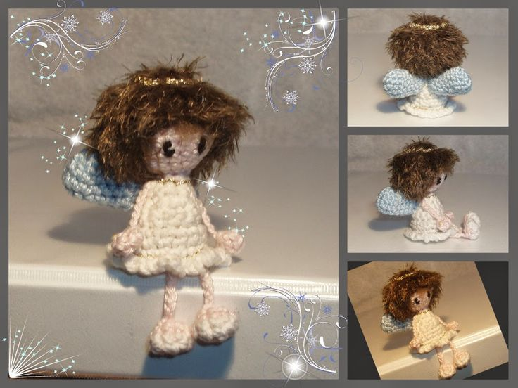 Tiny little dangling angel. Free pattern by Amigurumi Haaksels