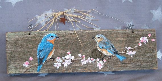 """Bluebirds, authentic barnwood, rustic, hand painted, 13"""" x 3 1/2"""""""