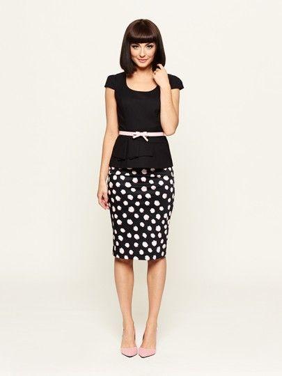 Left Bank Spot Skirt w Gabriella top & tie my bow patent belt!!