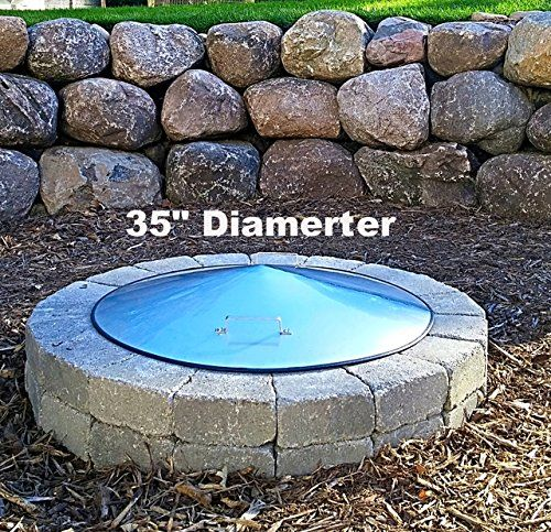 """Round Stainless Steel Fire Pit Ring Cover - 35"""" Diameter > Made 304 """"no rust stainless steel. 35"""" Diameter and 6"""" tall in center 255 wt capacity.You can walk across thius cover"""