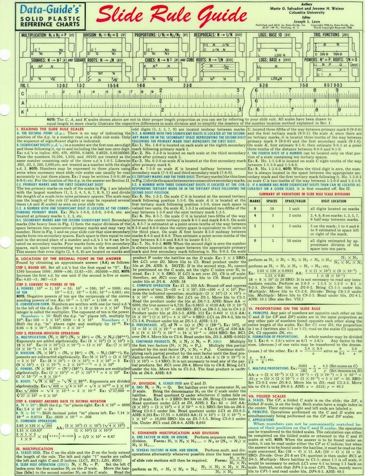 Slide Rule Guide Page 1, CLICK for bigger PIC!