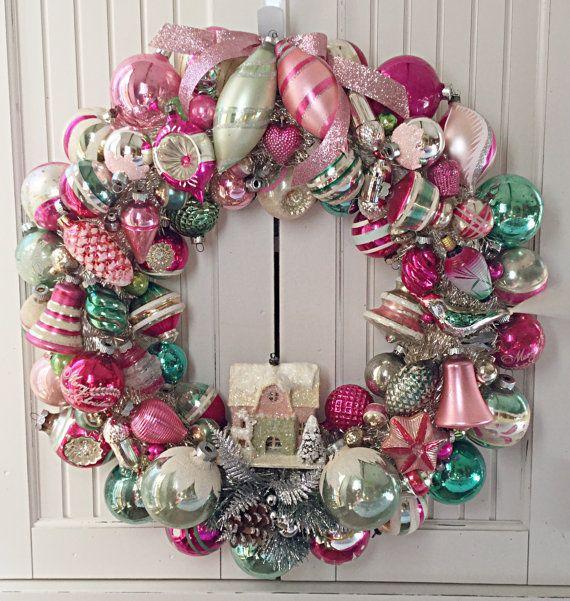 SAMPLE Large Pink & Green Vintage Christmas Ornament Wreath