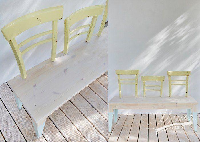 Create your own bench. Simple bench with added chair back support.   Design by Dorota Szelągowska www.dorotaszelagowska.pl