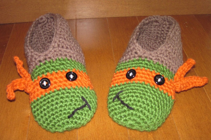Crochet TMNT slippers - Michelangelo