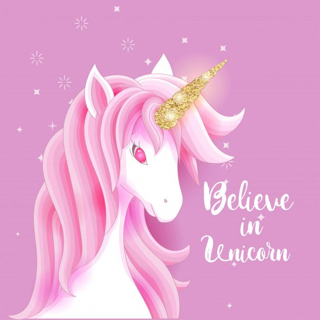 Cute Pink Unicorn With Gold Glitter Horn Gold Unicorn Wallpaper Unicorn Wallpaper Cute Unicorn