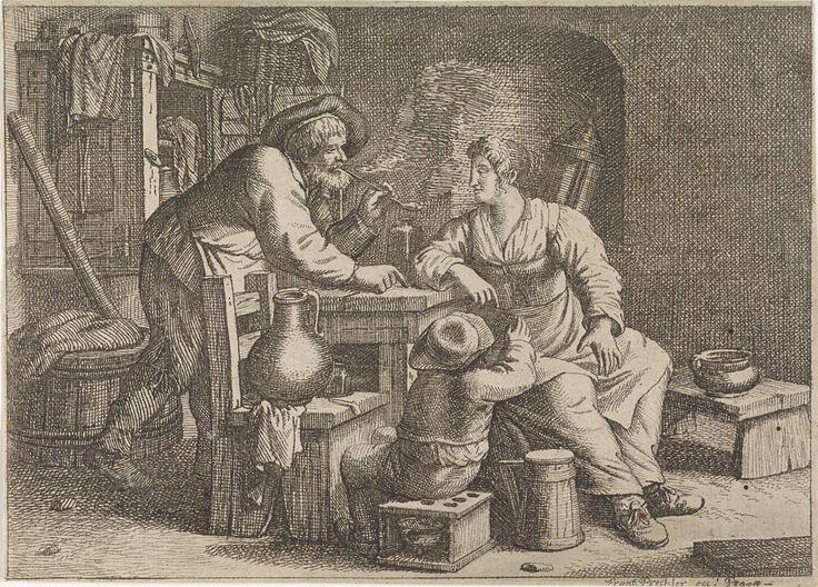 Interieur met een rokende boer, een vrouw en een jongen, Justus van den Nijpoort, 1635 - 1692