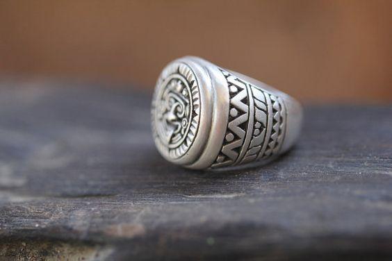 Мужская Серебряное кольцо, ацтеков Стиль ручной работы, матовая Твердые Стерлинг кольцо, парня кольцо, персонализированные кольцо