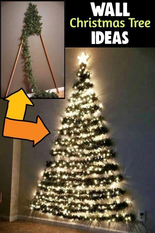 Diy Wall Christmas Tree Ideas With Lights Too Diy Lifestyle Wall Christmas Tree Small Space Christmas Tree Diy Christmas Tree