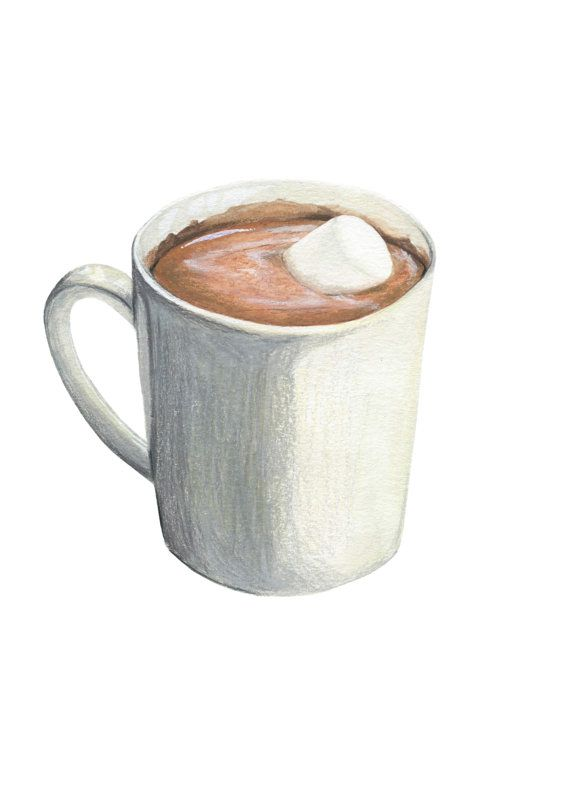 Hot Chocolate with Marshmallow // Original Illustration // Archival Quality Print
