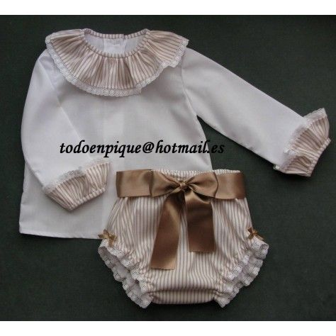Conjunto Hadas camisa, cubrepañal y zapatito rayas oxford