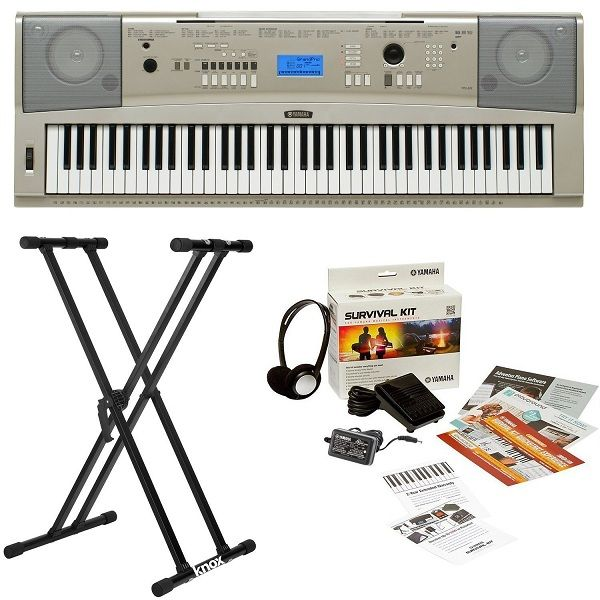 Yamaha YPG-235 76-Key Portable Grand Piano Keyboard Bundle with Knox Double X Stand
