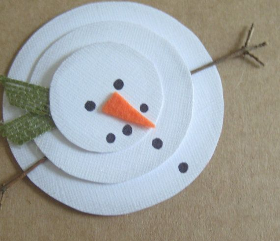 Handmade Christmas Card, Rustic Snowman, Let it Snow on Etsy, $3.50