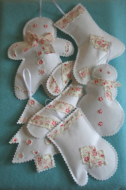 Make an assortment of 'winter' shabby chic ornaments-snowman and lady/gingerbread man and lady/mitten/snowflake/gingerbread house/etc...:)